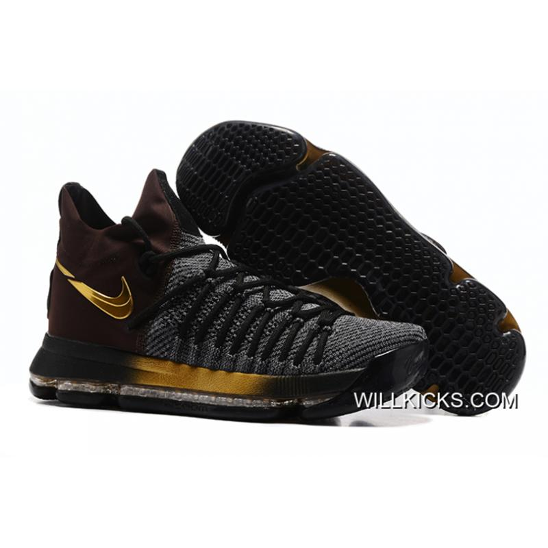 "7b6b91d7c24b Nike Zoom KD 9 Elite ""Flip The Switch"" Black Gold Free Shipping ..."