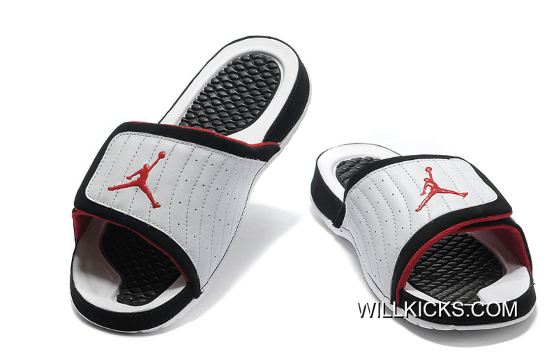 4c60203a4731 Air Jordan Hydro 14 White Black Red Slide Slippers Free Shipping ...