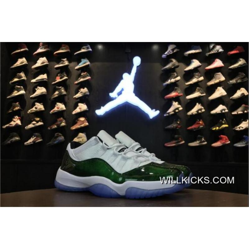 "wholesale dealer 99553 a62dd New Release Air Jordan 11 Low ""Easter"" White Emerald Rise-Black ..."
