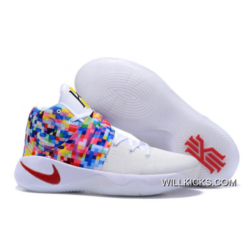 "b25d961bc4e7 Copuon Girls Nike Kyrie 2 ""Effect"" White-Red Multi-Color ..."