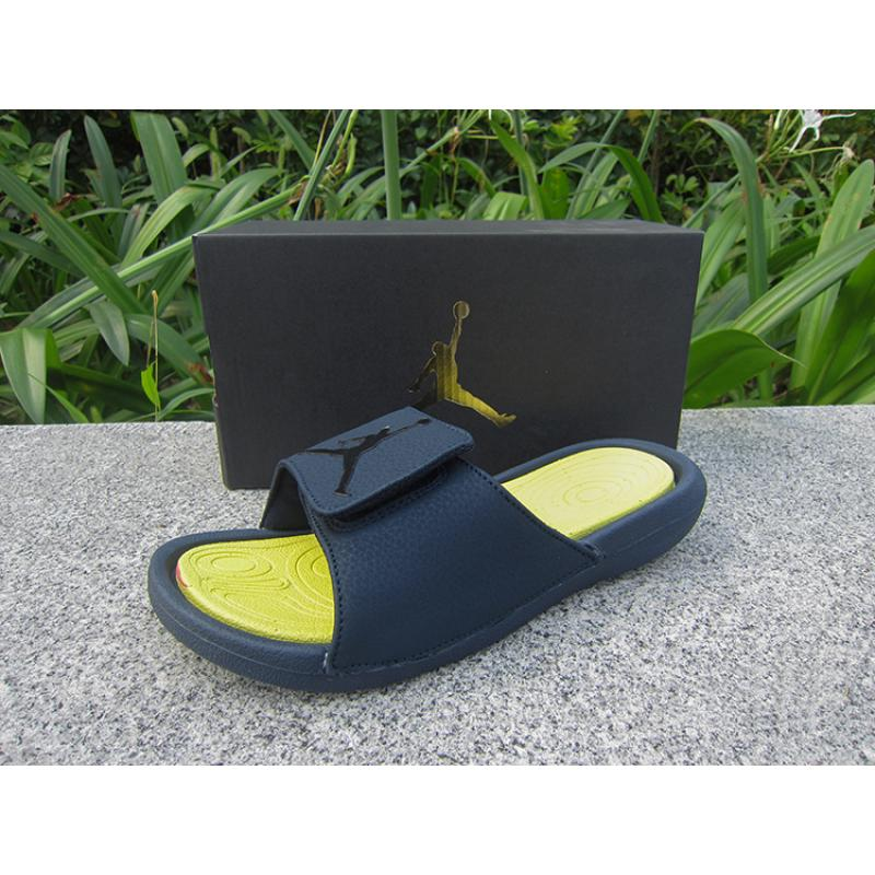 72fc0140a5af Air Jordan Hydro 6 Sandals Navy Blue Yellow New Year Deals ...
