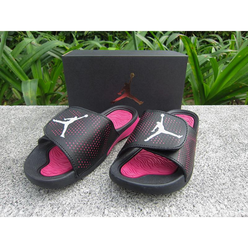 586abbfbc708 WMNS Jordan Hydro V Retro Sandals Black Pink White Best ...