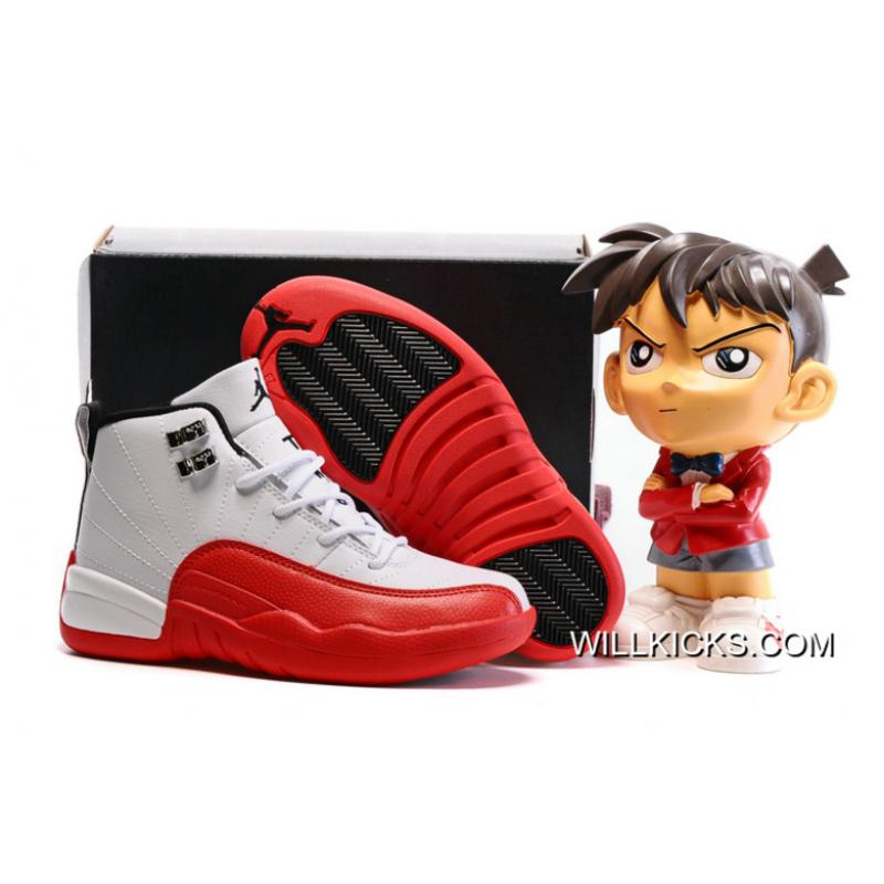 "12216e3fb0e8 Free Shipping Kids Air Jordan 12 ""Cherry"" White Gym Red-Dark Grey ..."