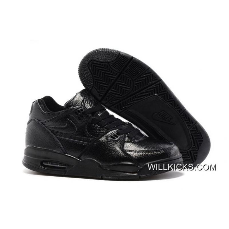 premium selection 831aa 06667 Discount Nike Air Flight  89 All Black Leather Basketball Shoes ...