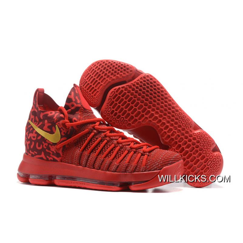 c56fa805c732 For Sale Nike Zoom KD 9 Elite Varsity Red Gold Basketball Shoes ...