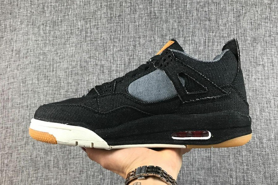quality design 8d579 e74c2 Best Levi s Air Jordan 4 Black Denim
