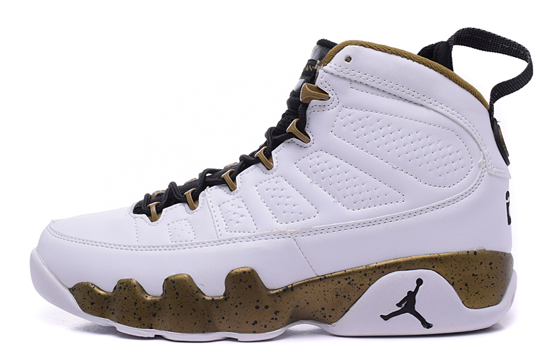 "... Gold  Outlet New Air Jordan 9 ""Copper Statue"" White Black-Militia Green  ... 937ed0ff75"