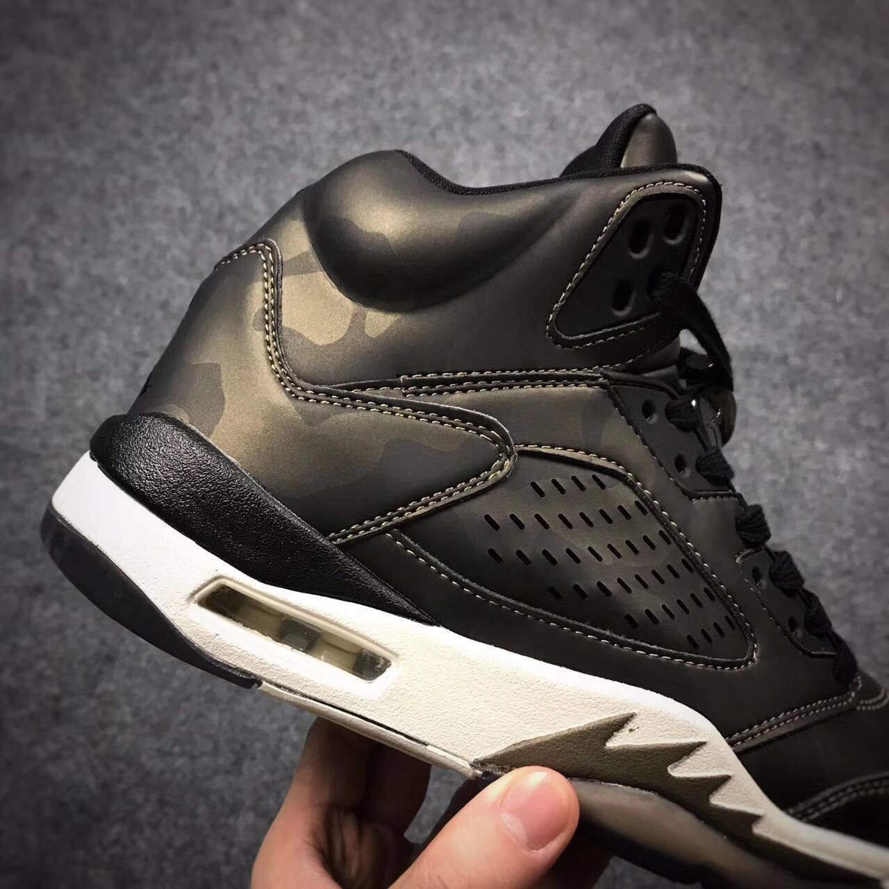 "purchase cheap 430ae 05a7a New Style Air Jordan 5 Premium Heiress ""Camo"" Black/Light Bone ..."