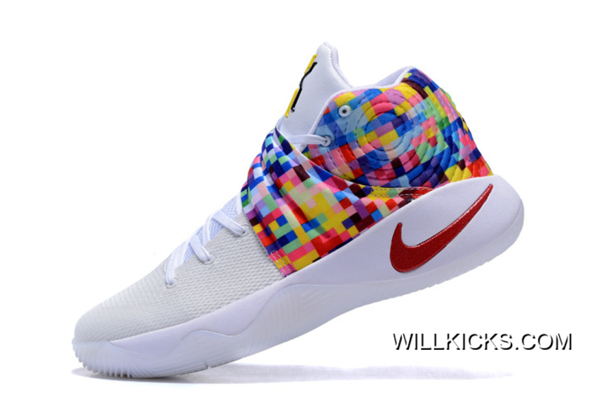 "fea00476417c Copuon Girls Nike Kyrie 2 ""Effect"" White-Red Multi-Color"
