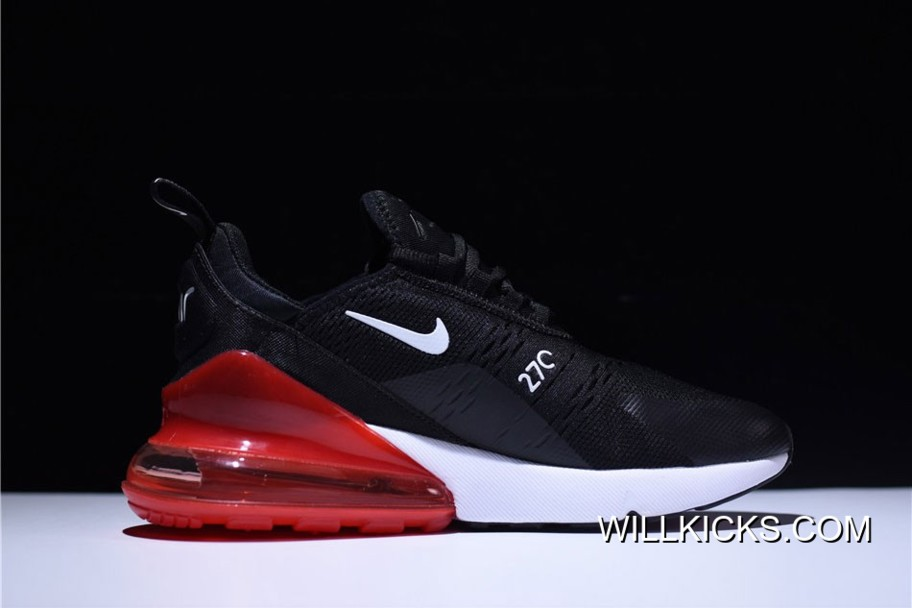 brand new 9a31f 3ad6d Nike Air Max 270 Black White Orange Running Shoes Discount