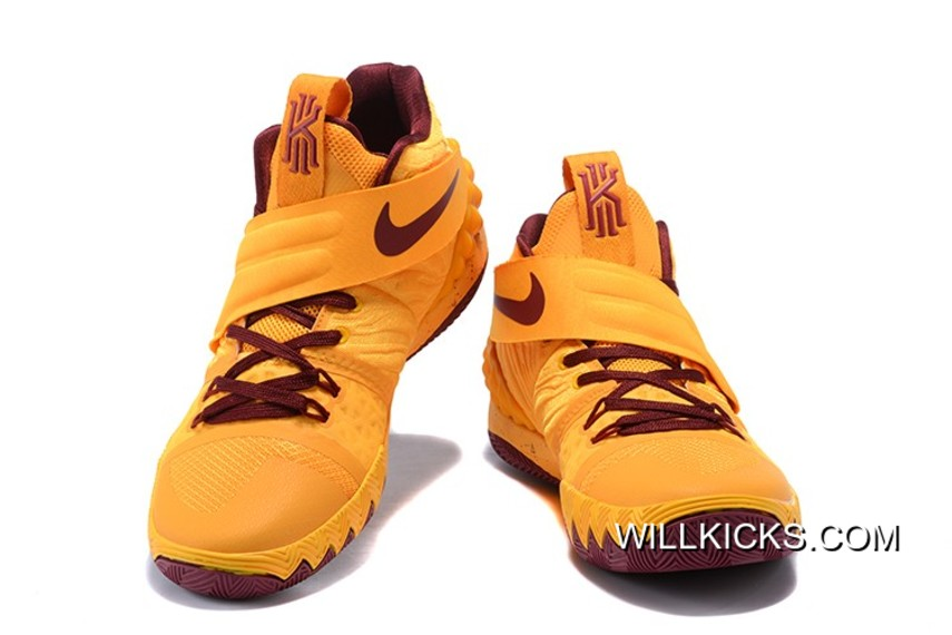 "best service 8c9cd d1f1f Nike Kyrie S1Hybrid ""Cavs"" Yellow Wine Red Top Deals"