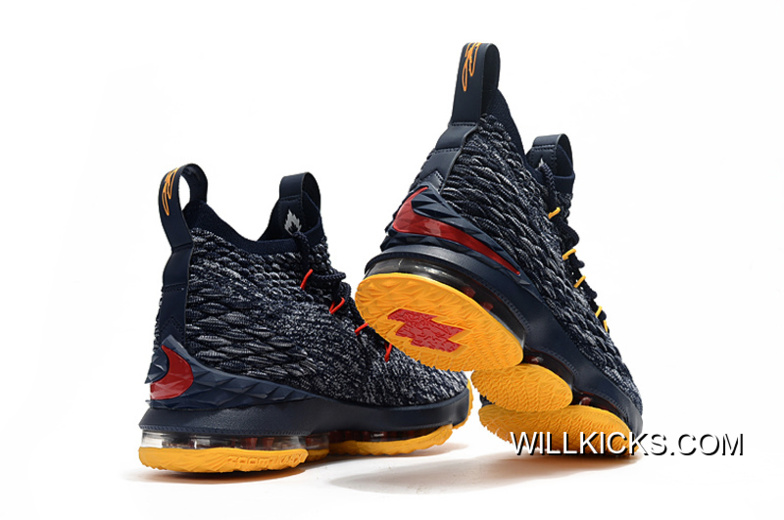 900fdcb98240 Nike LeBron 15 Navy Blue Yellow-Red Discount