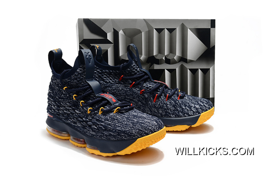 new arrival bb71e e914f Nike LeBron 15 Navy Blue/Yellow-Red Discount