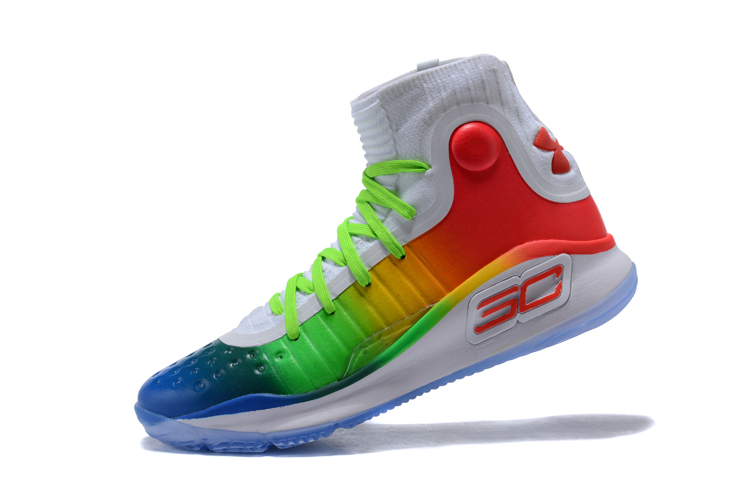 """d0cc17ed406 Under Armour Curry 4 """"Multi-Color"""" White Green Red New Style"""